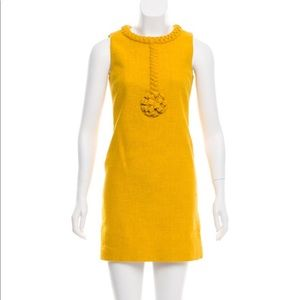 Tory Burch mustard tweed sheath w/braided detail 6